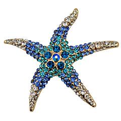 aleación de la manera / broches de diamantes de imitación fiesta pasador elegante de las mujeres / diario / forma de estrella de mar