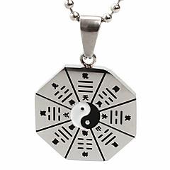 Недорогие Ожерелья-унисекса восемь диаграмм кулон ожерелье шарма нержавеющей стали 316l ретро черный посеребренные мужчины и женщины ювелирные изделия