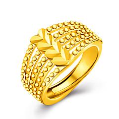 billige Damesmykker-Dame Luksus Gyldent / 18K Guld Hjerte Statement Ring - Personaliseret / Luksus / Kærlighed Gylden Ring Til Bryllup / Fest / Gave