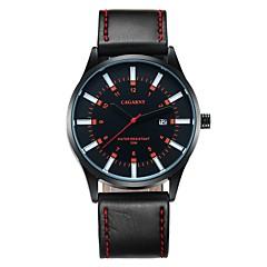CAGARNY Heren Modieus horloge Polshorloge Kwarts Kalender Leer Band Vrijetijdsschoenen Cool Zwart Zwart / Rood Zwart/Geel Zwart/Wit