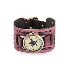 preiswerte Damenuhren-Damen Armbanduhr Armband-Uhr Modeuhr Quartz Wasserdicht Leder Band Retro Böhmische Armreif Schwarz Rot