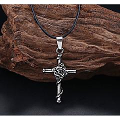 Недорогие Ожерелья-Муж. Ожерелья с подвесками - Титановая сталь Euramerican Мода европейский Крест Розы Цветы Ожерелье Назначение Свадьба Для вечеринок