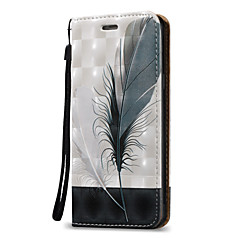 abordables Galaxy A3 Carcasas / Fundas-Funda Para Samsung Galaxy A5(2016) A3(2016) Soporte de Coche Cartera Flip Funda de Cuerpo Entero Plumas Dura Cuero de PU para A5(2016)