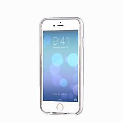 Недорогие Кейсы для iPhone 6-Кейс для Назначение Apple iPhone 6 iPhone 6 Plus Мигающая LED подсветка Прозрачный Кейс на заднюю панель Сплошной цвет Мягкий ТПУ для
