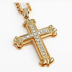 Недорогие Ожерелья-Ожерелья с подвесками - Крест В виде подвески Золотой Ожерелье Бижутерия Назначение Новогодние подарки, Свадьба, Для вечеринок