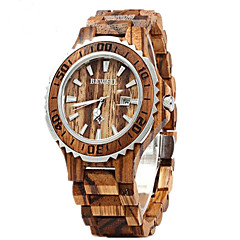 preiswerte Damenuhren-Paar Armbanduhr Quartz 30 m Kalender Holz Band Analog Luxus Modisch Holz Rot - Braun Rot Regenbogen Zwei jahr Batterielebensdauer
