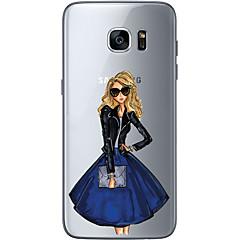 voordelige Galaxy S6 Edge Hoesjes / covers-hoesje Voor Samsung Galaxy S7 edge S7 Ultradun Transparant Patroon Achterkantje Sexy dame Zacht TPU voor S7 edge S7 S6 edge plus S6 edge