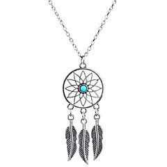 Hot Selling Fashion Bohemia Style Feather Long Chain Vintage Tassel Dream Catcher Necklaces & Pendants For Women