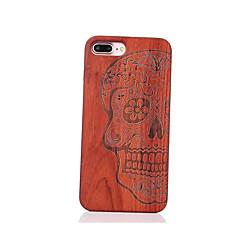 Недорогие Кейсы для iPhone 5-Для Защита от удара Рельефный С узором Кейс для Задняя крышка Кейс для Череп Твердый Дерево для AppleiPhone 7 Plus iPhone 7 iPhone 6s