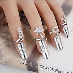 preiswerte Ringe-Damen Statement-Ring / Nagel Fingerring - versilbert Blume Personalisiert, Einzigartiges Design, Modisch Verstellbar Für Hochzeit / Party / Geschenk