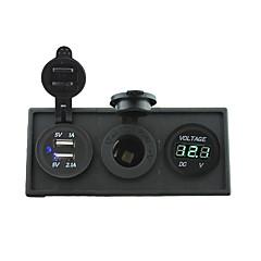 Недорогие Автоэлектроника-12v / 24v питания charger3.1a USB порт и 12v вольтметр датчик с держателем корпус панель для автомобиля лодка грузовик с.в. (с зеленым
