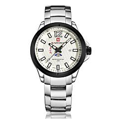 お買い得  大特価腕時計-NAVIFORCE 男性用 リストウォッチ クォーツ 30 m 耐水 カレンダー ムーンフェイズ ステンレス バンド ハンズ ファッション ブラック / シルバー - ローズゴールド ブラック / シルバー ホワイト / シルバー 2年 電池寿命 / Maxell SR626SW