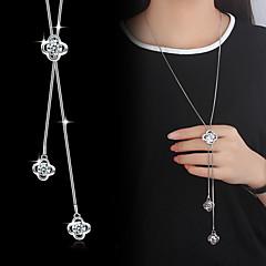 preiswerte Halsketten-Lasso Anhängerketten / Y Halskette - Kubikzirkonia, versilbert Blume Grundlegend, Modisch Silber Modische Halsketten Schmuck Für Hochzeit, Party, Besondere Anlässe