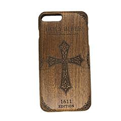 Для Рельефный Кейс для Задняя крышка Кейс для Слова / выражения Твердый Дерево для Apple iPhone 7 Plus