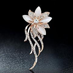 voordelige Broches-Broches Bergkristal Bloemen Bloemenstijl Strass Legering Bloem Sieraden Voor Feest Causaal