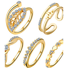 billige Ringe-Dame Smykke Sæt Ring Geometrisk Unikt design Kærlighed Hjerte Mode Yndig Europæisk Zirkonium Kvadratisk Zirconium Plastik Andre