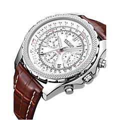 お買い得  メンズ腕時計-MEGIR 男性用 リストウォッチ カレンダー レザー バンド ヴィンテージ ブラック / ブラウン