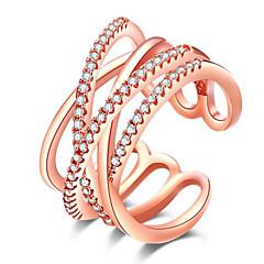 Damskie Pierscionek Podwójna warstwa luksusowa biżuteria Europejski biżuteria kostiumowa euroamerykańskiej minimalistyczny styl Kryształ