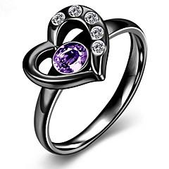 Χαμηλού Κόστους Γυναικεία κοσμήματα-Γυναικεία Δαχτυλίδι Love Καρδιά Ευρωπαϊκό Μοντέρνα Ανοξείδωτο Ατσάλι Ζιρκονίτης Cubic Zirconia Τιτάνιο Ατσάλι Καρδιά Κοσμήματα Πάρτι
