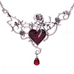 Dame Coliere Choker Coliere Sintetic Ruby Heart Shape Flower Shape Steag Union Jack Rose Pietre sintetice Aliaj Vintage Euramerican