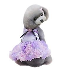 voordelige Hondenkleding & -accessoires-Hond Jurken Hondenkleding Bloem Grijs Paars Roze Chiffon Kostuum Voor huisdieren Dames Schattig Modieus Bruiloft