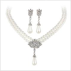Smykke Sæt Krystal Brude luksus smykker Perle Imiteret Perle Rhinsten Simuleret diamant Legering 1 Halskæde 1 Par Øreringe Til Bryllup