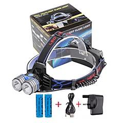 U'King Linternas de Cabeza Faro Delantero LED 4000 lm 3 Modo Cree XM-L T6 con pilas y cargador Tamaño Compacto Emergencia fuente de