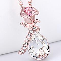 Ожерелья с подвесками Кристалл Хрусталь В форме цветка Базовый дизайн В виде подвески Розовый Бижутерия Повседневные 1шт