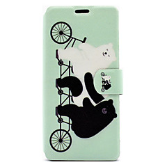 For Sony Xperia XA E5 Case Cover Cute Bear Pattern HD Painted Voltage TPU Process PU Skin Phone Case Xperia C6 Ultra