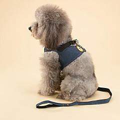 お買い得  犬用首輪/リード/ハーネス-ネコ 犬 ハーネス リード 調整可能 / 引き込み式 しつけ用品 ソリッド ファブリック ブルー