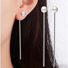 preiswerte Ohrringe-Damen Einzelkette Tropfen-Ohrringe - versilbert Anhänger Stil, Klassisch Weiß Für Weihnachts Geschenke / Hochzeit / Party