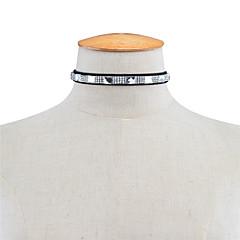 Dames Choker kettingen Bergkristal Rechthoekige vorm Strass Vierkant Modieus PERSGepersonaliseerd Euramerican Zwart Sieraden Voor