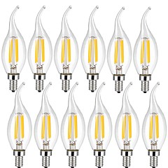 cheap LED Bulbs-KWB 12pcs 4W 400lm E14 LED Filament Bulbs CA35 4 LED Beads COB Decorative Warm White Cold White 220-240V