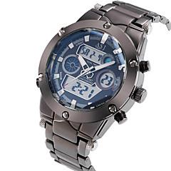 お買い得  大特価腕時計-ASJ 男性用 リストウォッチ 日本産 アラーム / カレンダー / クロノグラフ付き ステンレス バンド ぜいたく シルバー / 耐水 / LCD / 2タイムゾーン / 2年 / Maxell SR626SW + SEIKO CR2025