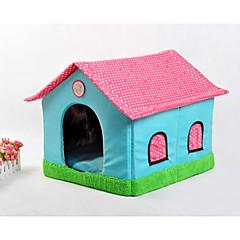قط كلب الأسرّة حيوانات أليفة سلال بقع كارتون ناعم خيمة الكاميرا البيج أزرق زهري