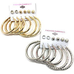 preiswerte Ohrringe-Damen Kubikzirkonia Ohrstecker Kreolen Anhänger - Gold / Silber Für Hochzeit Party Besondere Anlässe / 12 Stück