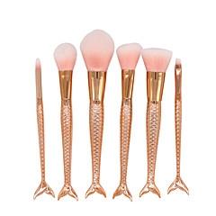 6 Seturi perie Perie Blush Pieptene pentru gene (Rotund) Perie Corector Perie evantai Perie Pudră Perie Fond Contour Brush Păr sintetic