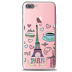 For Transparent Mønster Etui Bagcover Etui Mad Eiffeltårnet Blødt TPU for AppleiPhone 7 Plus iPhone 7 iPhone 6s Plus iPhone 6 Plus iPhone