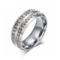 お買い得  指輪-女性用 カップルリング  -  ステンレス鋼, ジルコン ユニーク 6 / 7 / 8 ゴールド / ブラック / シルバー 用途 結婚式 / パーティー / 日常