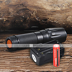 cheap -UltraFire W-878 LED Flashlights / Torch LED 1800 lm 5 Mode Cree XM-L T6 with Batteries and Charger Adjustable Focus Camping/Hiking/Caving