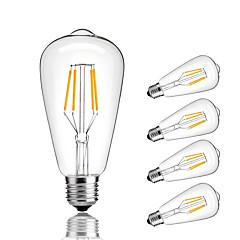 お買い得  LED 電球-4W E27 フィラメントタイプLED電球 ST64 4 COB 360 lm 温白色 クールホワイト 装飾用 交流220から240 V 5個