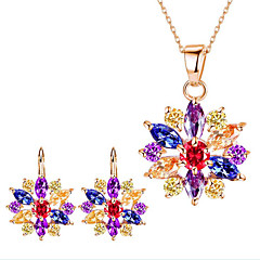 Women's Bridal Jewelry Sets Multi-stone Rhinestone Flower Style Flowers Floral Synthetic Gemstones Alloy Flower 1 Necklace 1 Pair of