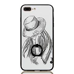 Недорогие Кейсы для iPhone 7 Plus-Кейс для Назначение iPhone 7 Plus IPhone 7 Apple Кольца-держатели С узором Кейс на заднюю панель Соблазнительная девушка Твердый ПК для