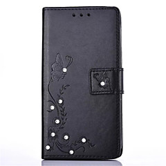 For LG K10 K8 DIY Rhinestone Card Holder with Stand Flip Case Full Body Case Flower Hard PU Leather for LG K7 LG K4 LG G5