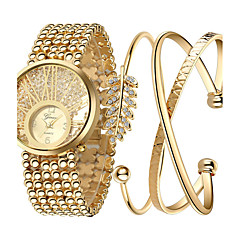 preiswerte Damenuhren-Damen damas Armbanduhr Quartz Cool Edelstahl Band Analog Charme Luxus Glanz Gold - Farbbildschirm