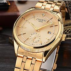 preiswerte Tolle Angebote auf Uhren-CHENXI® Herrn Armbanduhr Japanisch Kalender / Cool / Imitation Diamant Legierung Band Luxus / Glanz / Freizeit Gold / Zwei jahr / Maxell626