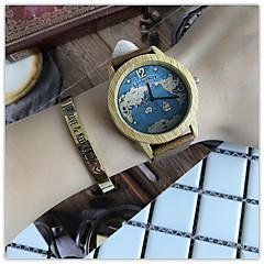 preiswerte Damenuhren-Damen Armbanduhren für den Alltag / Armbanduhr / Einzigartige kreative Uhr Chinesisch Cool / hölzern / / Leder Band Freizeit / Reisekarte Schwarz / Braun / Khaki