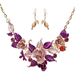 levne Dámské šperky-Dámské Šperky Set - Kytky Zahrnout Vintage náhrdelník Fialová / Modrá Pro Svatební / Párty / Zvláštní příležitosti