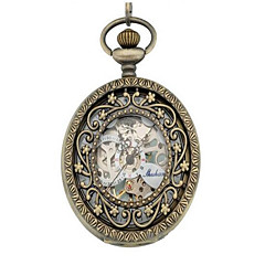 お買い得  レディース腕時計-男性用 スケルトン腕時計 懐中時計 機械式時計 自動巻き シルバー ハンズ シルバー