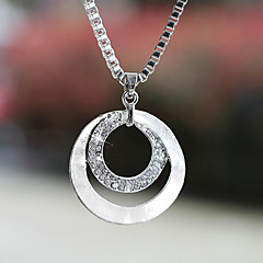 cheap Necklaces-Women's Circle Basic Fashion Pendant Necklace Silver Plated Imitation Diamond Alloy Pendant Necklace , Wedding Party Gift Daily Casual